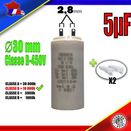 Condensateur de démarrage de 5μF (5uF) pour moteur volet roulant - store de marque EUROMATIK