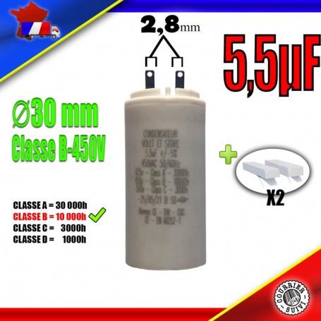 Condensateur de démarrage de 5,5μF (5,5uF) pour moteur volet roulant - store de marque BUBENDORFF
