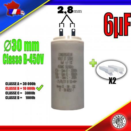 Condensateur de démarrage de 6μF (6uF) pour moteur volet roulant - store de marque SOMFY