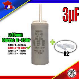 Condensateur de démarrage de 3μF (3uF) à fils pour moteur volet roulant - store de marque BUBENDORFF