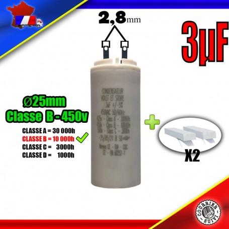 Condensateur de démarrage de 3μF (3uF) pour moteur volet roulant - store de marque BUBENDORFF