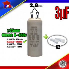 Condensateur de démarrage de 3μF (3uF) pour moteur volet roulant - store de marque EUROMATICK